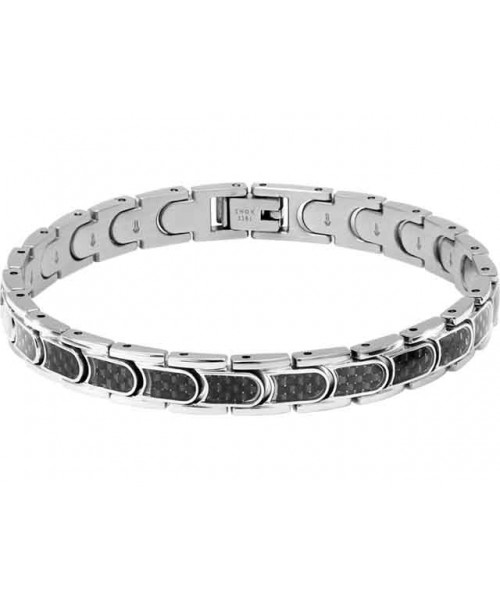 ROCHET bracelet for men. Driver .Steel and black carbon.