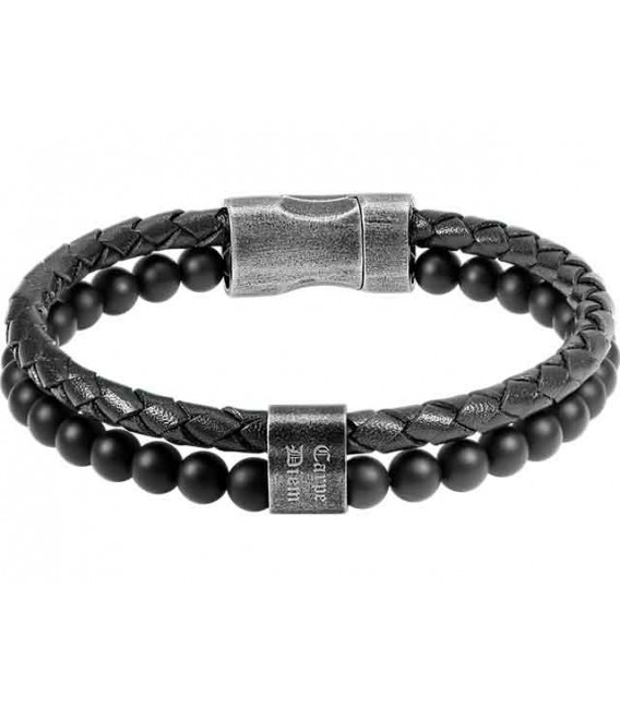 ROCHET bracelet for men. KARMA . Leather. Black agates.