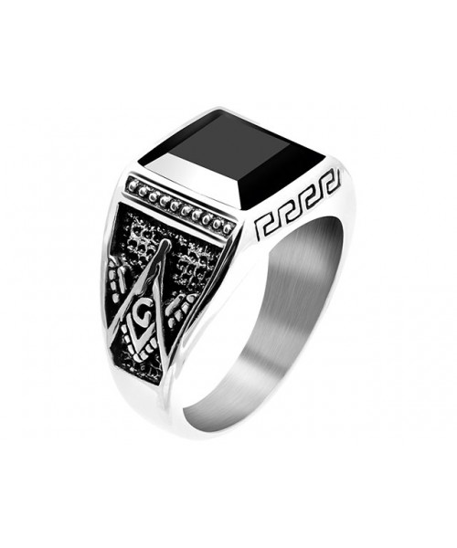 ROCHET ring for men. ROCK . Steel with onyx
