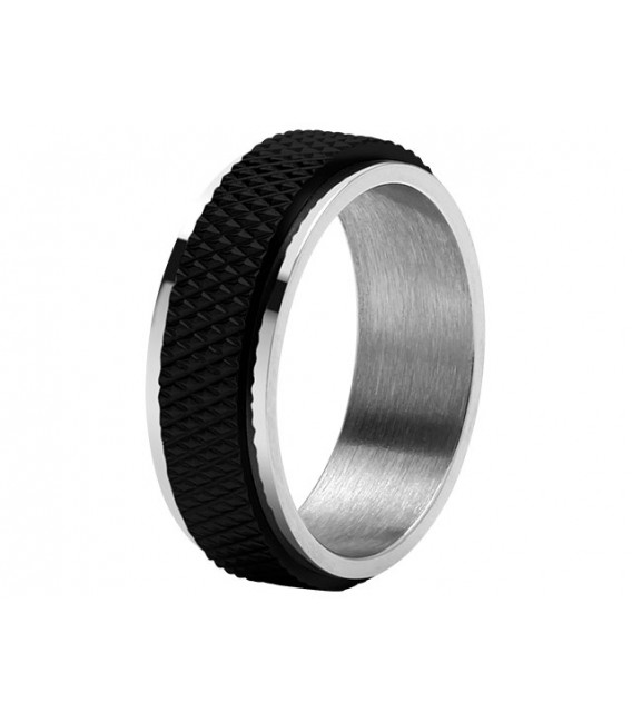 ROCHET ring for men. DRIVER . Steel with PVD black.
