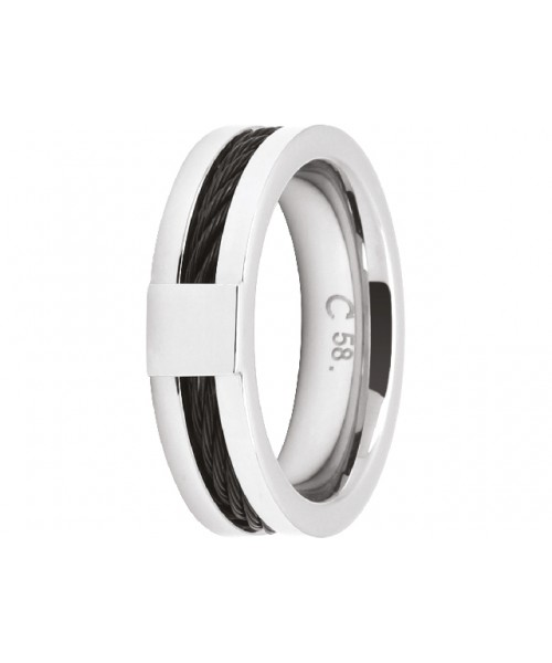 ROCHET ring for men. CABESTAN. Steel with PVD black.