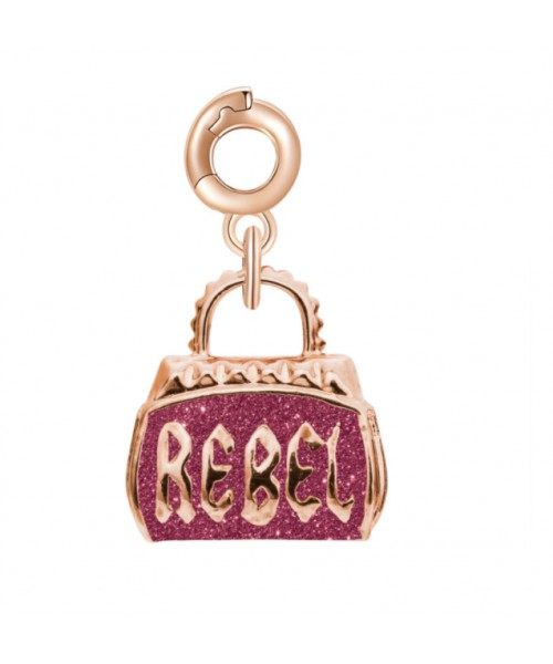 ROSATO charm. Rebel bag. Silver. RZ034.