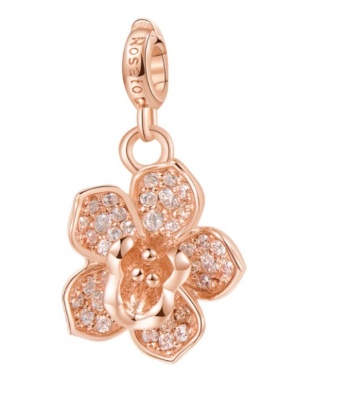ROSATO charm . Orchid flower. Silver. RZ054.