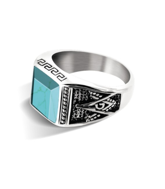 ROCHET ring for men. ROCK . Steel and turquoise.