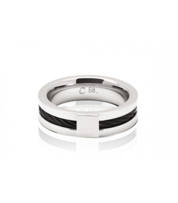 278/5000 ROCHET ring for men. CABESTAN. Steel with PVD black.