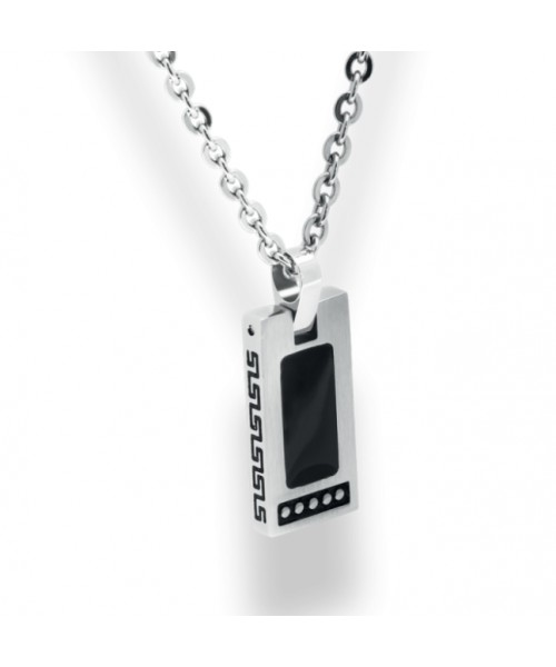 ROCHET pendant for men. Rock Collection. Steel with onix.