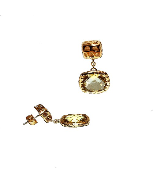 Te Fifth Season by Roberto Coin. Earrings with lemon quartz