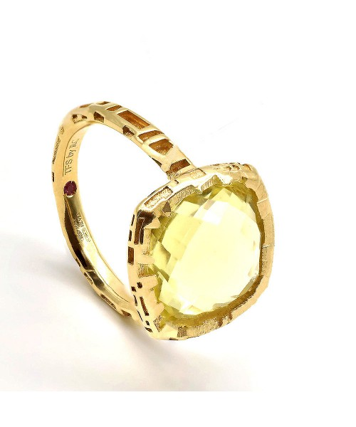 The Fifth Season by Roberto Coin. Silver ring with green quartz.