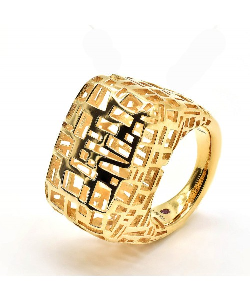 Fifth Season by Roberto Coin. Anillo de plata/oro amarillo.