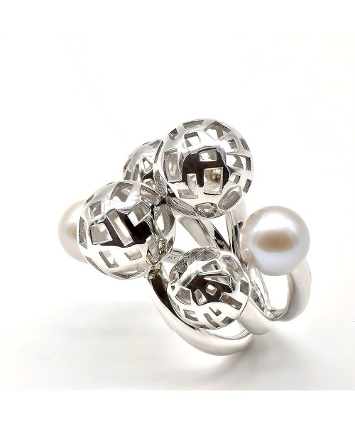 Fifth Season by Roberto Coin. Anillo de plata con perlas