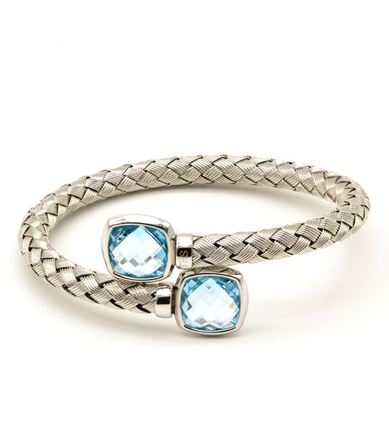 SILVER BANGLE WITH BLUE TOPAZ